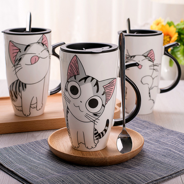 600ml Cute Cat Style Ceramic Mugs with Lid & Spoon