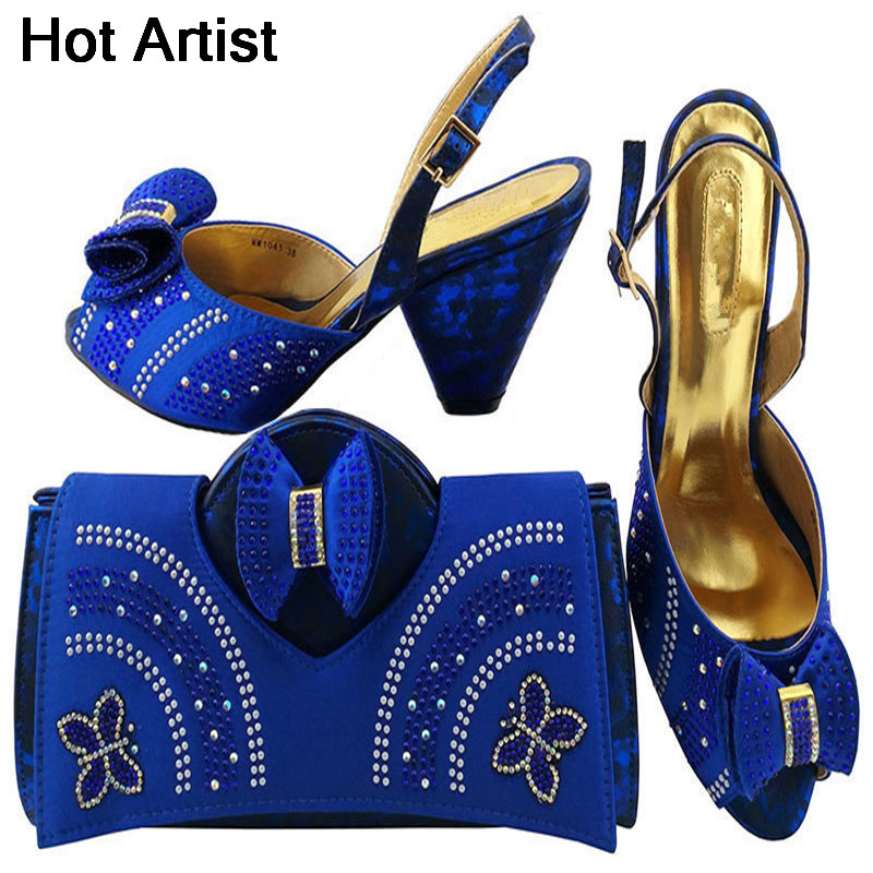Hot Artist Italian Design Elegant Shoes And Bag Set African Summer Woman Middle Heels Shoes And Bag Set For Party Usage MM1041 2016 spring and summer free shipping red new fashion design shoes african women print rt 3