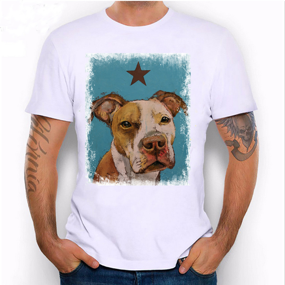 2018 new summer fashion mens short sleeve American pit bull print T-shirt casual dog design Tops male cool hipster Tees