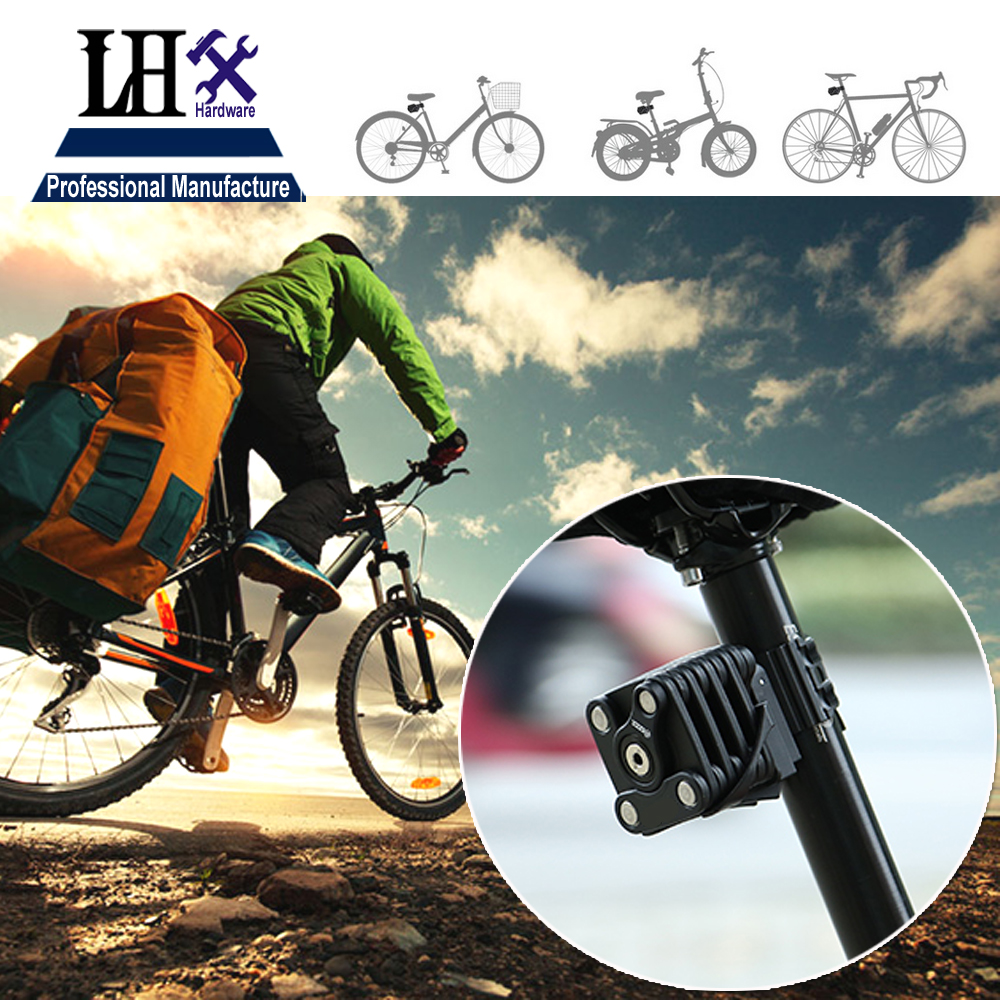 цена LHX MMS542 650mm Bicycle Folding Lock Mountain Bike Chain Lock Anti-theft Lock 2 keys