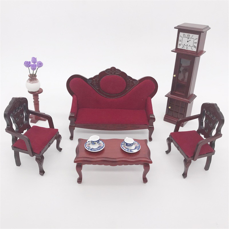 3pcs/set 1:12 miniature wooden chair furniture toy for Dolls house pretend play toys mini red chair for girls children kids