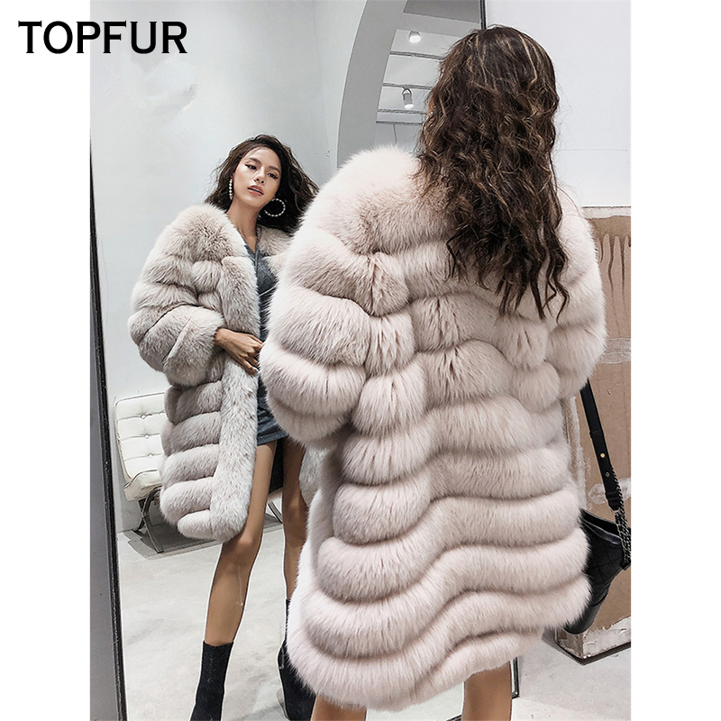 TOPFUR Women Real Fur Coat Top Quality Luxury Winter Natural Fox Fur Jacket 90 cm New Style Thick Warm O Neck Fox Fur Outwear in Real Fur from Women 39 s Clothing