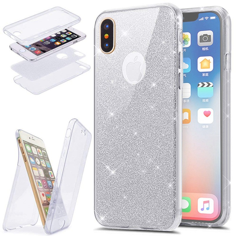 low priced e9c84 90059 2 In 1 360 Full-Body Protection Glitter Slim TPU Coque Iphone 7 8 Plus 6 6S  Plus X 10 Funda Double Face Protector Cover