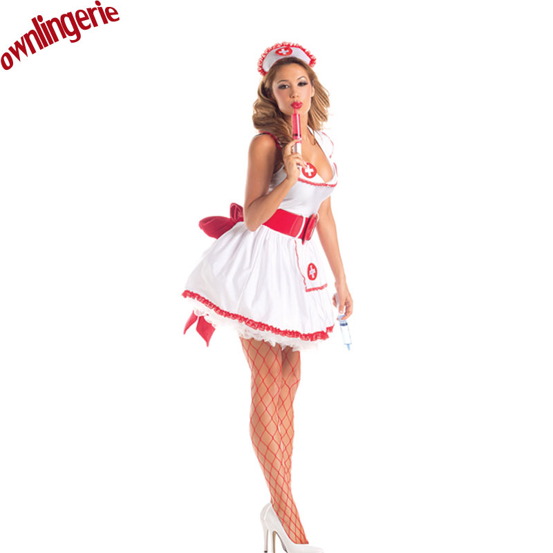 Sexy Nurse Costume Set Red Bowknot Sexy Erotic Cosplay Costume Nurse Uniform Tempt V-Neck Costume With Red And White Work Drum