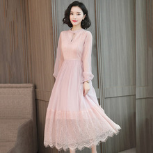 Elegant fresh bud silk yarn long ladies dress 2019  womens spring summer bottoming is very beautiful woman