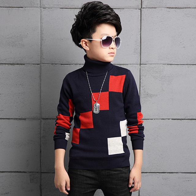 Crianças Camisolas Meninos Moda Marca Sólida Estilo Casual Pullovers Blusas de Gola De Tricô Novo Crianças Meninos Roupa do Inverno Outwears