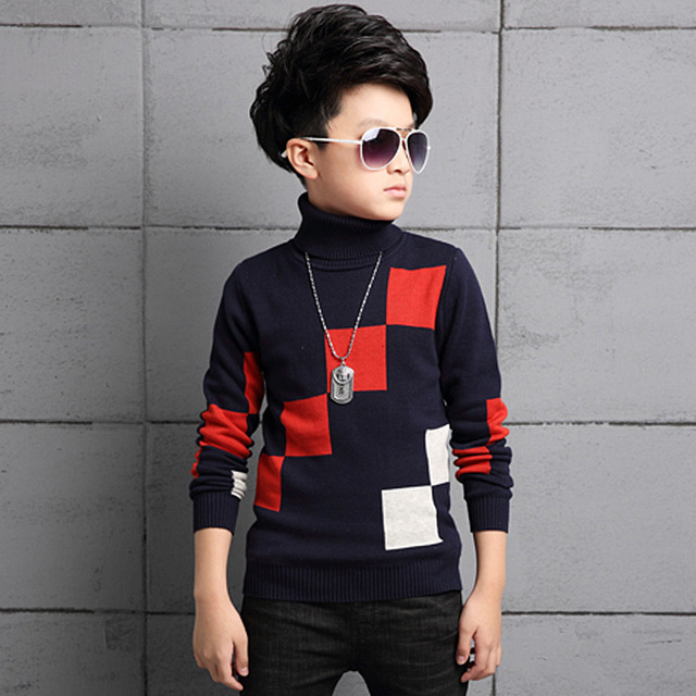 Kids Sweaters Boys Fashion Solid Brand Style Casual Turtleneck Knitting Sweaters New Kids Boys Clothes Winter Pullovers Outwears