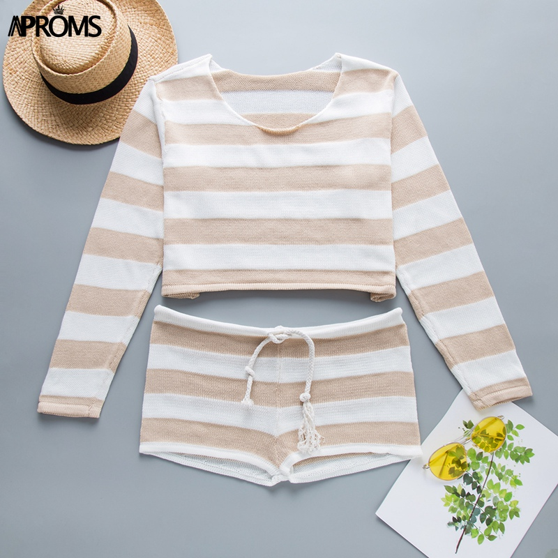 cc7f4a7c95fa6 US $17.79 40% OFF|Aproms Summer Striped Cotton Knitted Beach Crop Top and  Shorts Women 2 Pieces Set Casual High Waist Shorts Ladies Bikini Outfits-in  ...