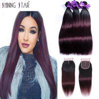 Elegant Ombre Brazilian Straight Hair Weave 3 Bundle With Closure Ombre 1B Red Burgundy Bundle With Closure Human Hair NonRemy