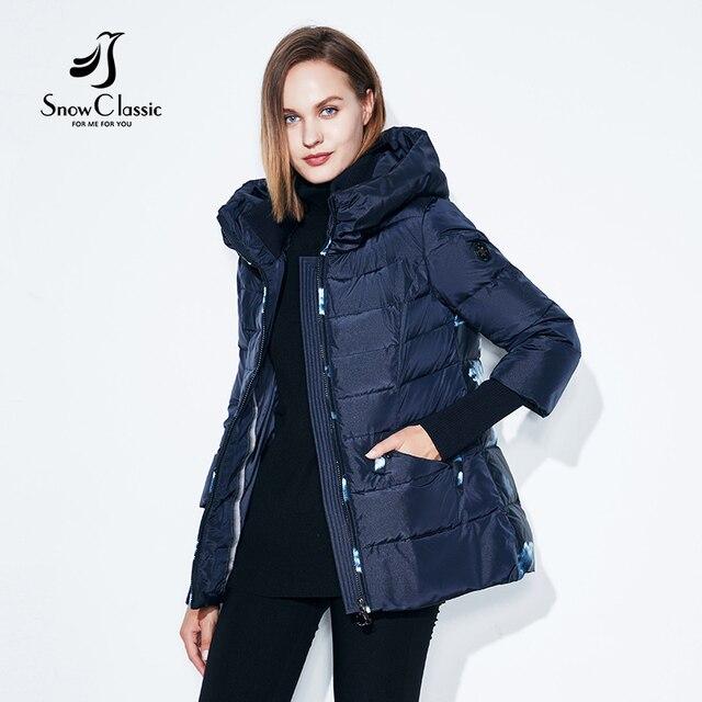 Женские Зимняя куртка теплые короткие женские парки женские сзади принт хлопок высокое качество плотное пальто snowclassic Зима Новинка
