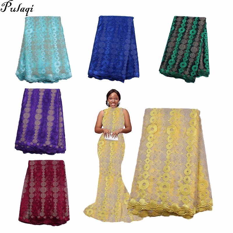 Pualqi 2018 Tulle African Laces Fabric Latest High QualityWedding African French Tulle Lace French Nigerian Laces Fabrics D