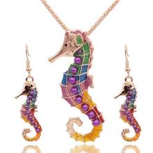 Esmalte Conjuntos de Joyas Para Niñas Chapado En Oro Sea Animal Del Caballo de Mar Hippocampus Mar Joyería Étnica Del Pendiente de La Vendimia