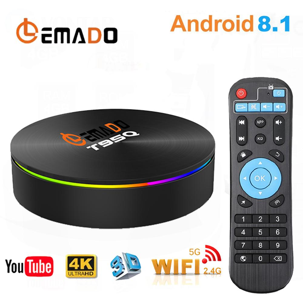 Lemado T95Q 3D TV BOX Android 8 1 S905X2 4GB 32GB 64GB support 2 4G 5
