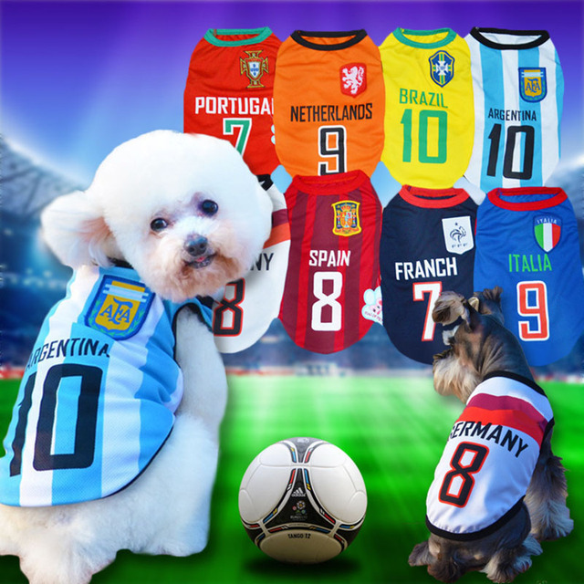8 Country Cute Pet Dog Soccer Jersey Cool Breathable Dog Vests Puppy  Outdoor Sportswear Football Clothes For Small Dogs XS-XXL 5d7adeef2