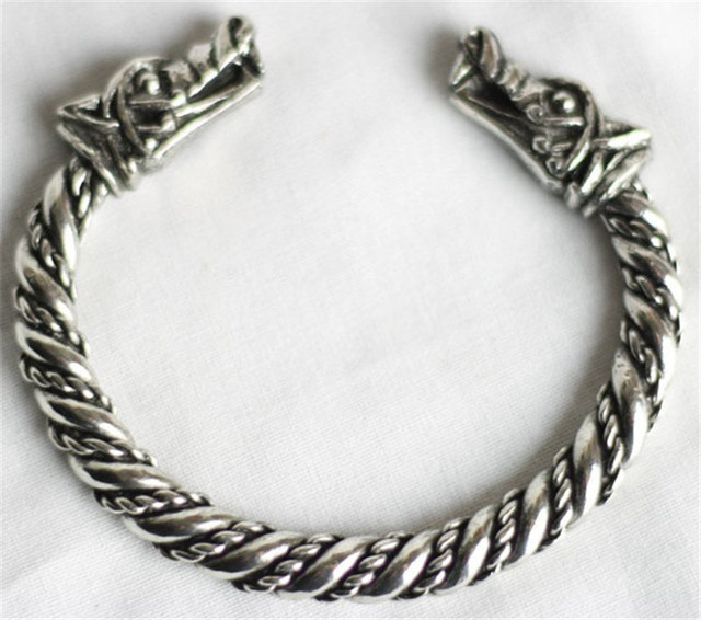 Viking Dreki Celtic Wolf Tin Bracelet Pagan Bangle Beast Friend Gift Nordic Vikings Cuff