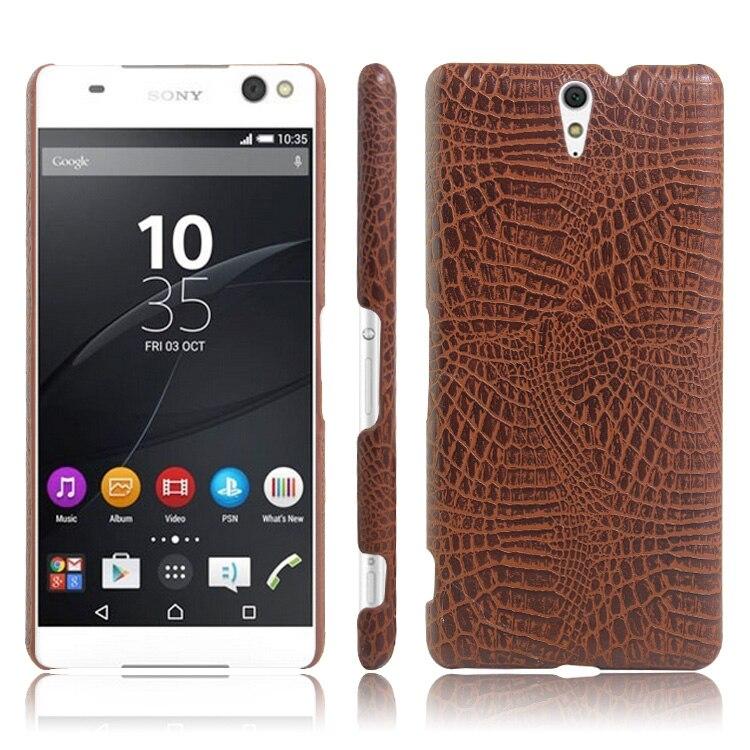 ᐅKsq para Sony Xperia C5 ultra caso de cocodrilo patrón de cuero pu ...
