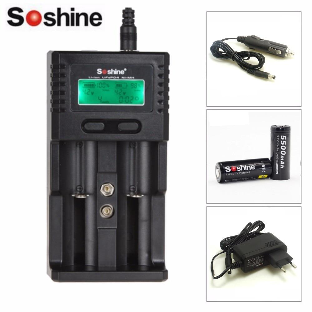 Soshine H2 Li-ion 2-Fente NiCd NiMh Chargeur LCD Avec 2 pièces Soshine 26650 3.7 V 5500 mAh Protégé Rechargeable Li-ion Batterie