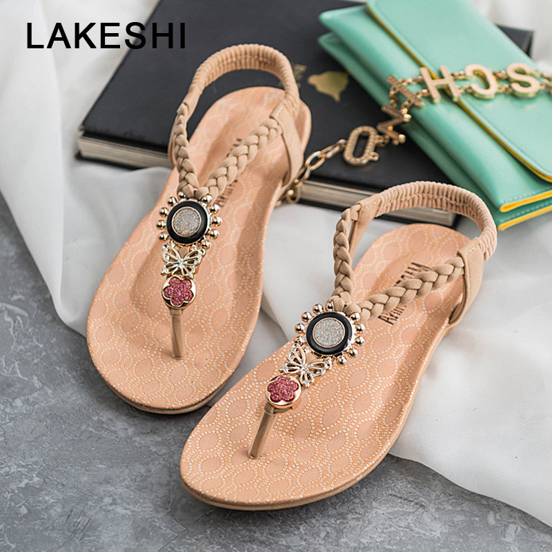 LAKESHI T-Strap Shoes Women Sandals Summer Flat Sandals 2018 Bohemian Flip Flops Women Shoes Roman Casual Beach Sandals Slip-On new casual women sandals shoes summer fashion slip on female sandals bohemian wild ladies flat shoes beach women footwear bt537