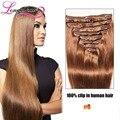 Grampo de cabelo humano em extensões 8 pçs/set Remy grampo na extensão do cabelo reto brasileiro virgem cabelo castanho claro grampo na extensão