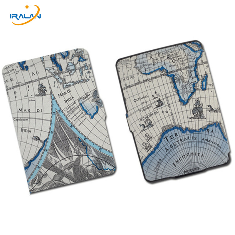 2017 new Ultra-slim Map Painted PU Leather Cover Case for Amazon Kindle Voyage 6.0 Tablet Smart Protective E-Book 6.0 inch+pen simple wool felt sleeve case cover for amazon kindle paperwhite2 kindle 499 for amazon kindle voyage 6inch tablet bag s4b05d