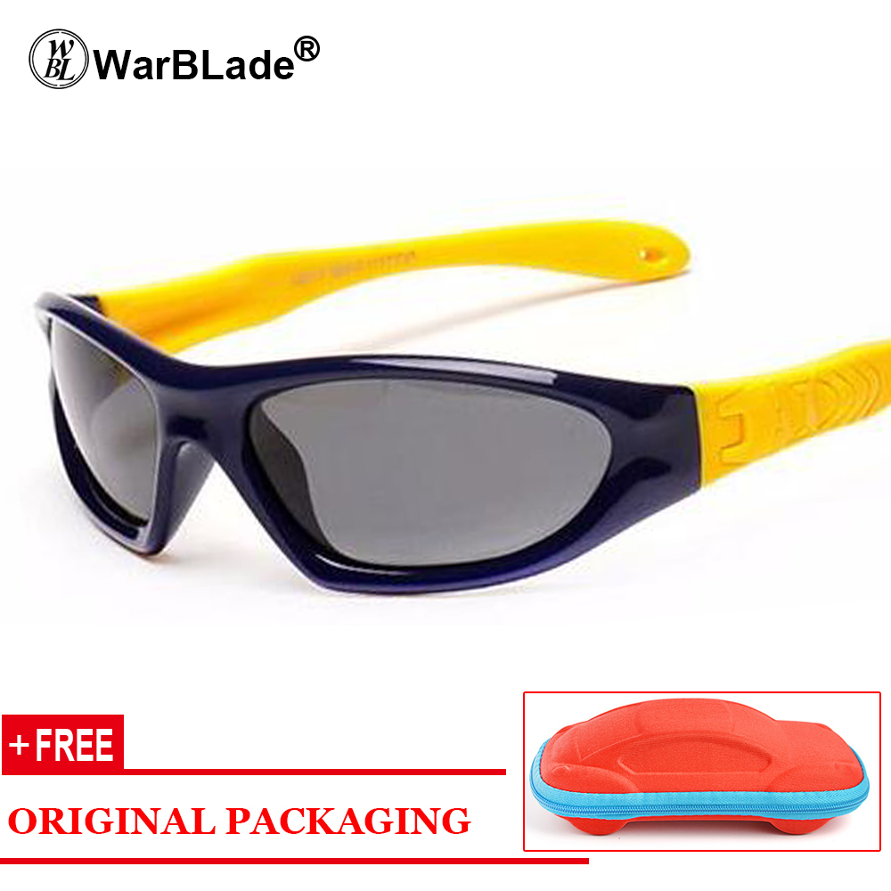 WarBLade Rubber Polarized Sunglasses Kids Candy Color Flexible Boys Girls Sun Glasses Safe Quality Eyewear Oculos With Case