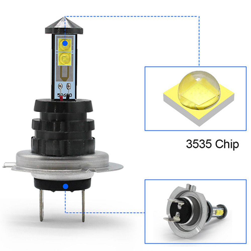 2pcs 20W H7 LED Car Fog Light Bulb White Headlight 12V 24V 360 Degree 1000lm 6500K