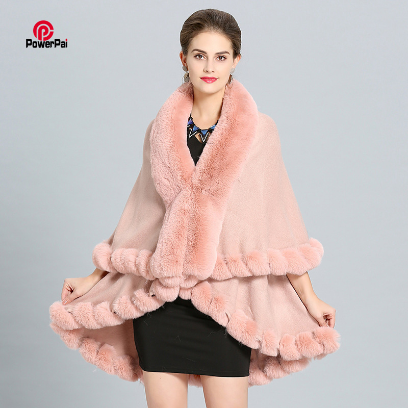Fashion Handcraft double layer Fox Fur Cape Shawl Long Knit Cashmere Poncho Coat Wraps Faux Fur