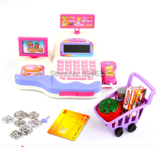 New supermarket cash register toy kids toy cash register with font b calculator b font toys