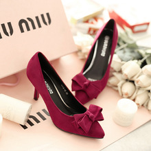 2016 new Bow Shoes tide explosion elegant red high-heeled women shoes with pointed toe shoes suede fine  women's singles shoes