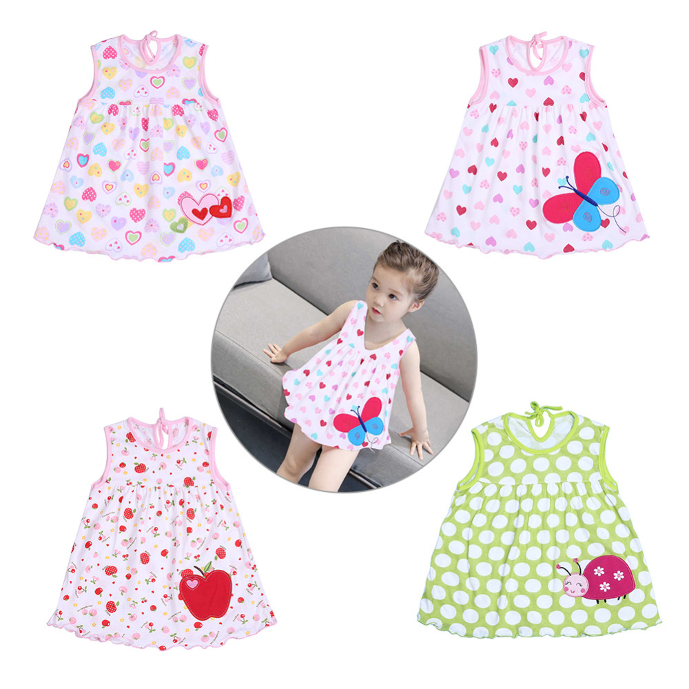 New Cute Sleeveless Floral Dresses for 0-2 Year Baby Girl Spring Summer Baby Girls Clothes Dress Casual Strap Cotton Dress