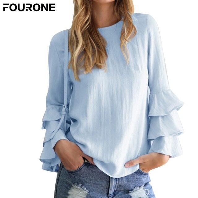 d884a020caa Summer Women Long Sleeve T-Shirts Loose Tops Lotus Leaf Ruffle O Neck Organza  Shirts