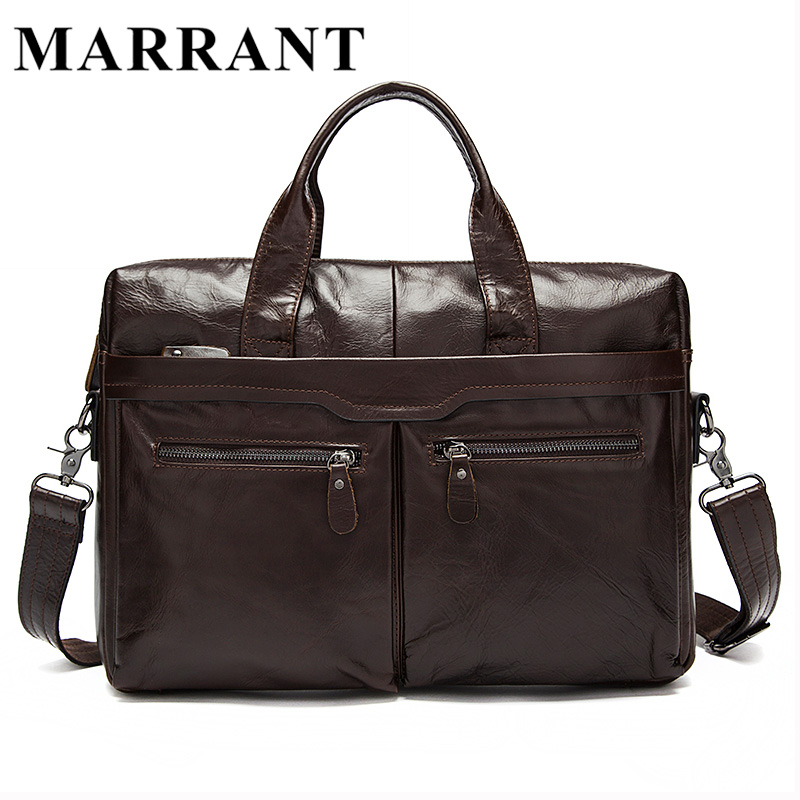 ФОТО MARRANT Genuine Leather Men bag Cow Leather Briefcase Men's Messenger Bags Men's Travel Bags Man Crossbody Shoulder Handbag 9005