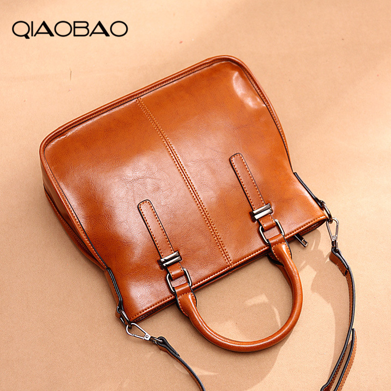 QIAOBAO Women Messenger Bag 100% Genuine Leather Casual Bag Female Designer Handbag Vintage Cowhide Tote Shoulder Bag aurora firenze aurora firenze au008ewiji98