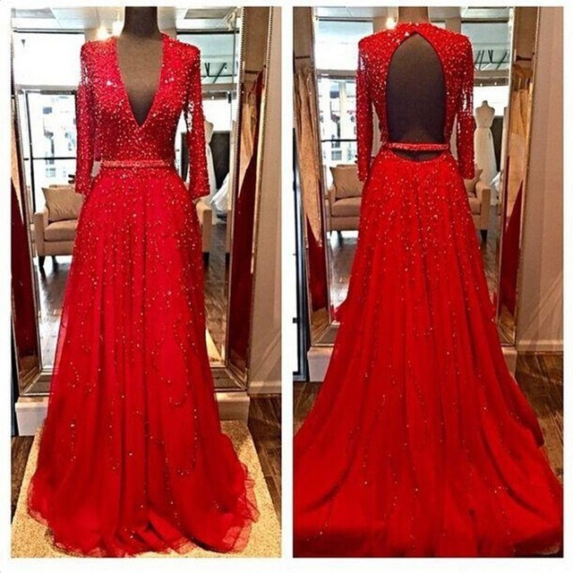 luxury low chest red evening dress 2016 elegant long sleeve women formal pagenat gown for prom party