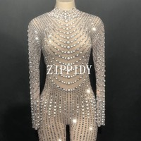 Bright Pearls Crystals Mesh Jumpsuits Sexy Rhinestones Perspective Bodysuit Stage Dance Wear Evening Celebrate Shining Costume
