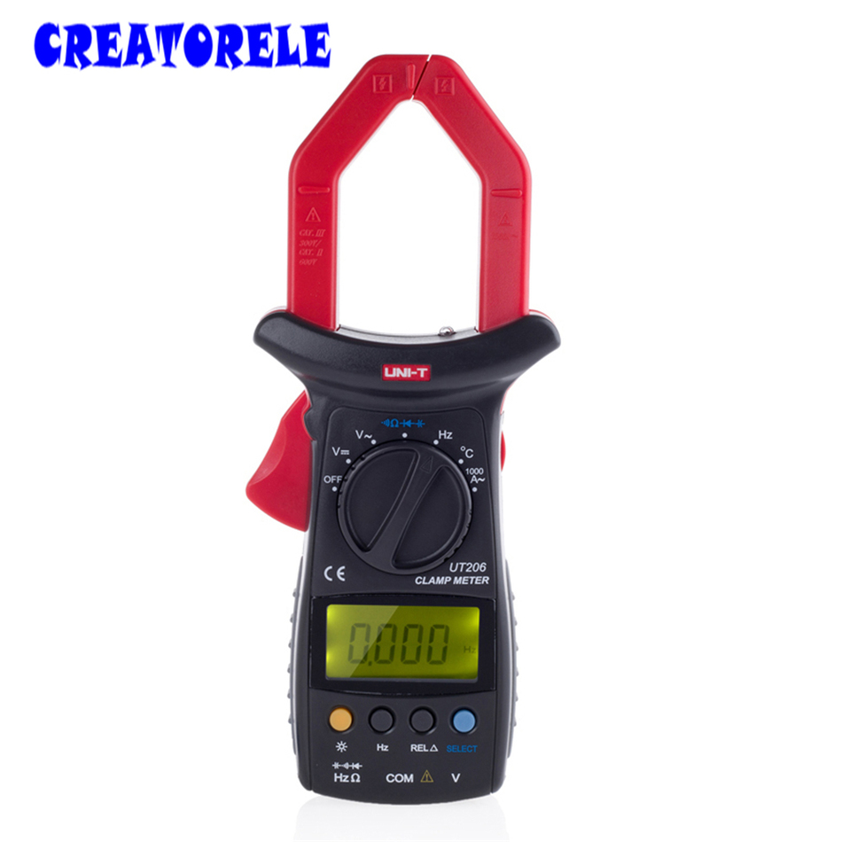 ФОТО UT206 3 3/4 Digital Auto Range Digital Clamp Multimeters Capacitance 1000A 600V UNI-T Clamp Meter with Temperature LCD Backlight
