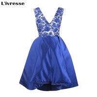 L Ivresse 2017 Vestidos De Fiesta A Line Short Royal Blue Satin Lace Prom Dresses Elegant