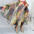 Hot New 19 Patterns Peacock Feather Fake Silk Elastic Waist Big Bottom Printed Bohemia Skirt Women Full Long Chiffon Skirt