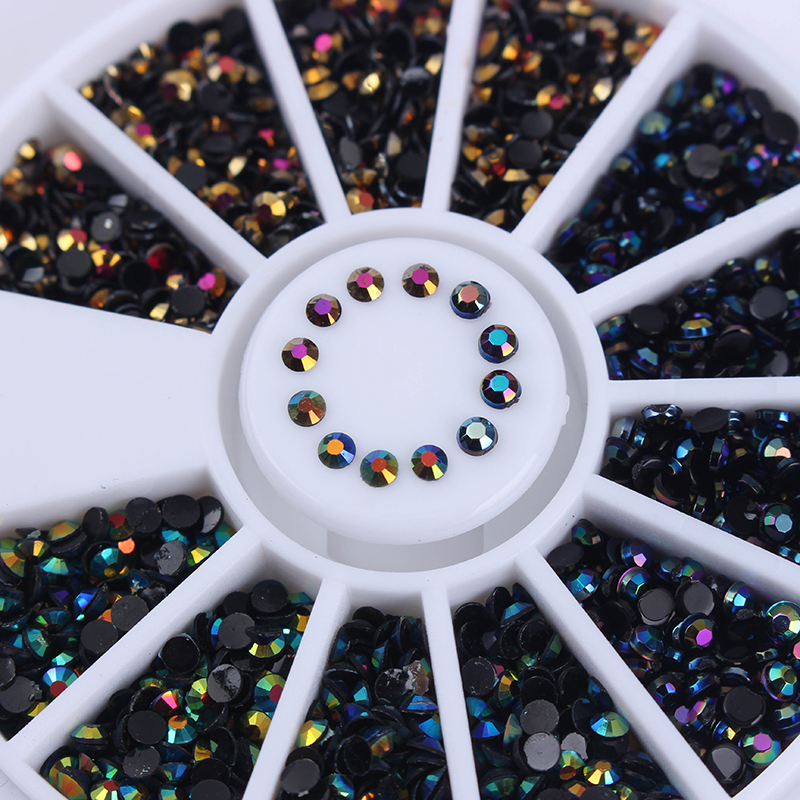 1 Box Black Shinning Rhinestones 3D Nail Art Decoration in Wheel Flat Bottom Manicure Nail Art Decoration illusion money box dream box money from empty box wonder box magic tricks props comedy mentalism gimmick