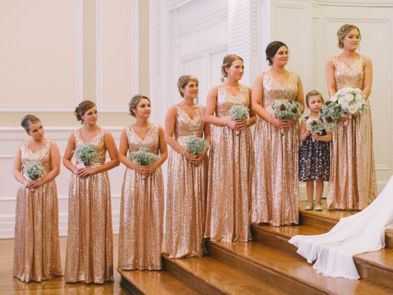 Us 68 31 Off 2019 New Rose Gold Bridesmaid Dress Rosie Sequin Wedding Party Blush Bridesmaids Flattering Sparkle In
