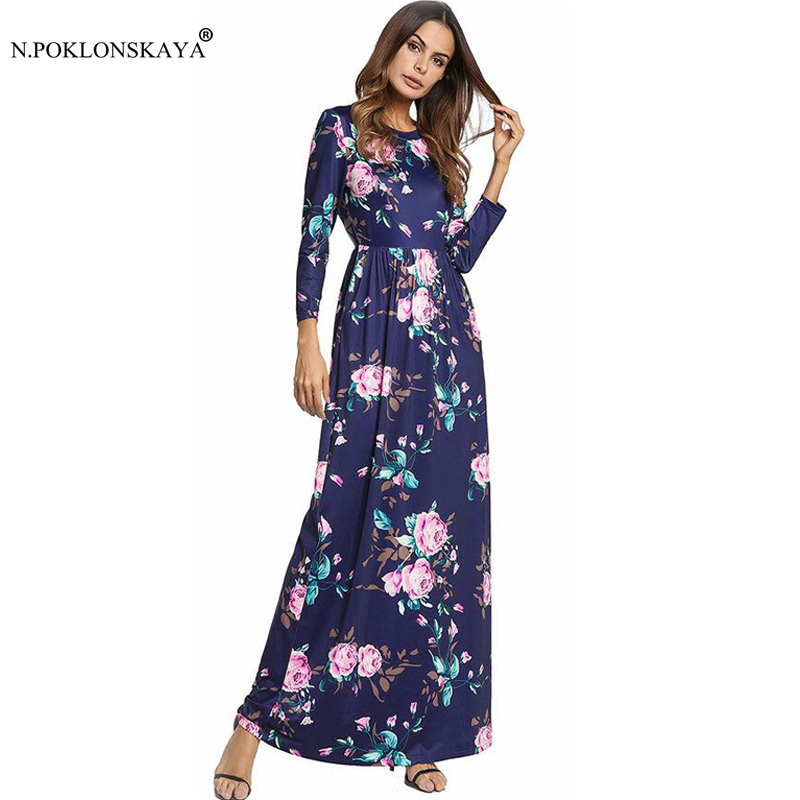 N.POKLONSKAYA Maxi Long Dress for Women Summer Bohemian Floral Dress Female Elegant Ankle Length Dresses with Pockets Vestidos