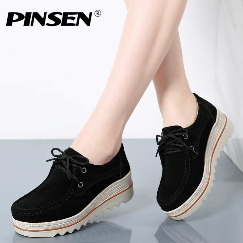 PINSEN Autumn Women Flats Platform Shoes Genuine Leather Height Increase Shoes Woman Lace Up Flats Female Casual Shoes Creepers qmn women genuine leather platform flats women brushed leather height increasing brogue shoes woman square toe creepers 34 42