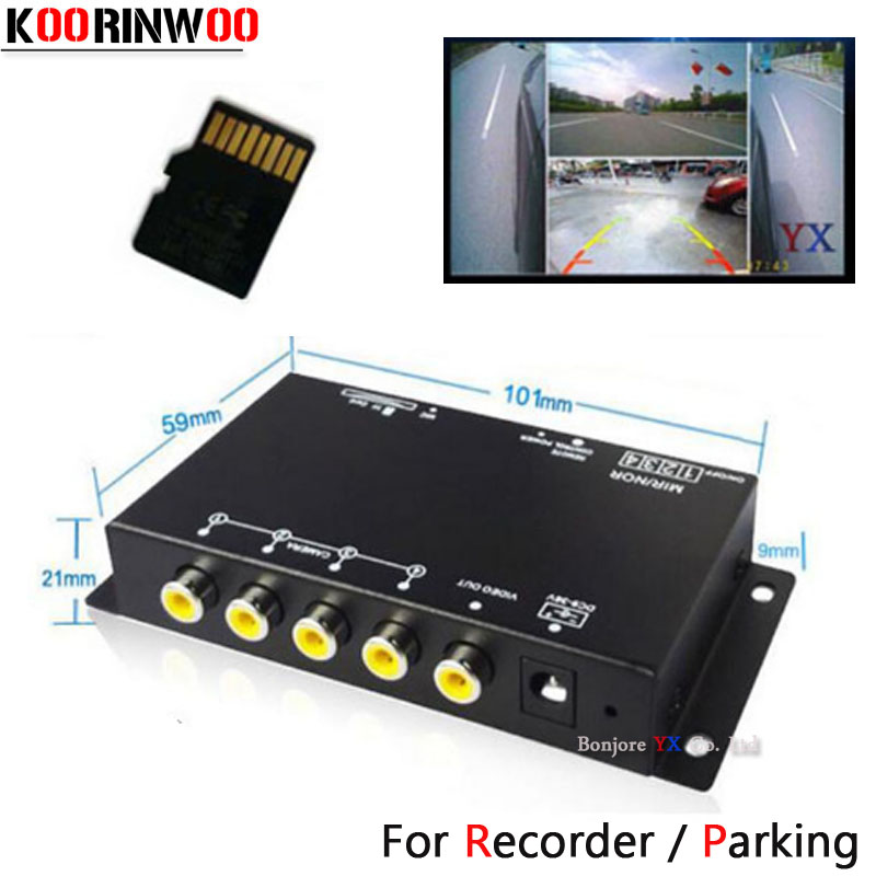Koorinwoo Sistema Panorâmica DVR Caixa 4 Canais Disponíveis para Parte Traseira Do Carro Assistência de Estacionamento Câmera de Vídeo Câmera De visão Traseira Frente