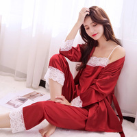 e77f12eb9 Chinese Style Bride Wedding Pajamas Women S Pyjamas Set Satin 3pcs  Sleepwear Lace Intimate Lingerie Sexy. Pijamas das Mulheres de ...