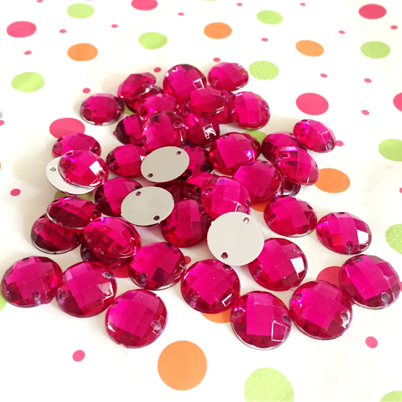DIY 250pcs 14mm  acrylic hand seam cut and pasted the wedding garment decoration double hole drill Magenta button