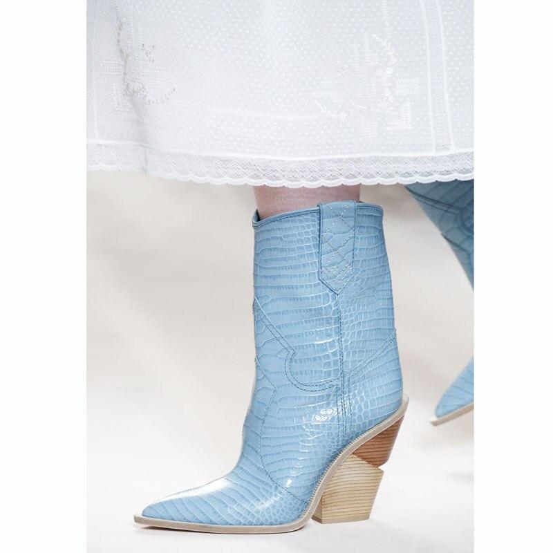 JAWAKYE Spike de tacón alto botas de dedo del pie puntiagudo Punk botas de invierno botas de cuña de las mujeres de grano de madera deslizamiento en serpiente de tobillo botas para las mujeres-in Botas hasta el tobillo from zapatos    2