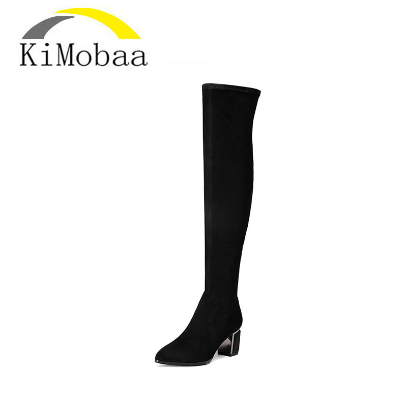 Kimobaa Sheep Suede+Flock Slim Boots Sexy Over The Knee High Women Long Boots Women Fashion Winter Thigh High Shoes Woman TX113 2017 sexy thick bottom women s over the knee snow boots leather fashion ladies winter flats shoes woman thigh high long boots