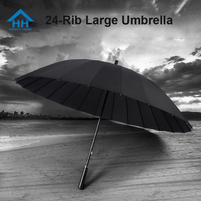 24 Bones Large Umbrella For Men Wind Rainstorm Resistant Strong Sombrilla with Long Handle Windproof Parapluie Christmas Gifts