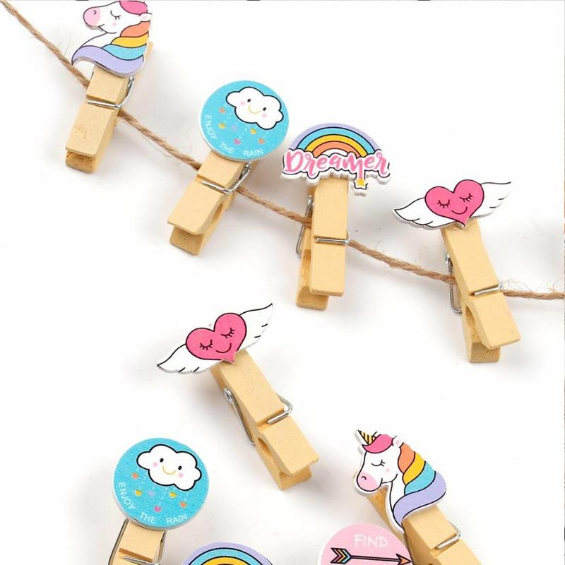 INS Color Hemp Rope Wooden Clip Wedding Fashion Wood Clip Cute Photo Wall Clip Message Notes DIY Photo Wall Craft Decoration-in Photo Albums from Home & Garden