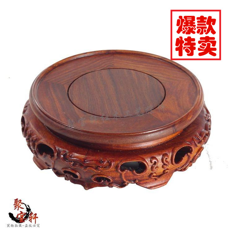 Red sandalwood rosewood carving handicraft circular base solid wood flowerpot of Buddha stone vases, furnishing articles flowerpot mammon root base frame figure of buddha rosewood wood carving handicraft furnishing articles wood tottenham